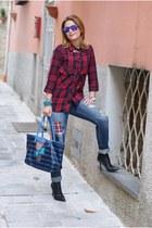 red plaid Zara shirt - black cesare paciotti boots - blue Zara jeans