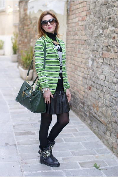 chartreuse tribal print maison scotch blazer - black b&h boots