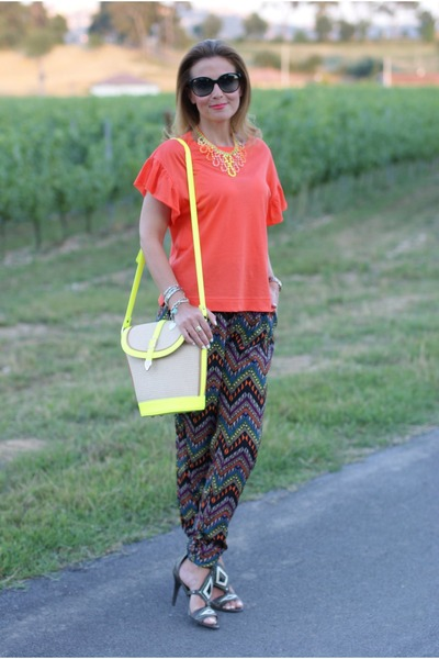 yellow PERSUNMALL bag - black Miu Miu sunglasses - carrot orange Zara blouse