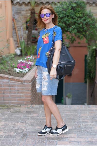 black Givenchy bag - blue french fries blackfive shirt - sky blue Bershka shorts