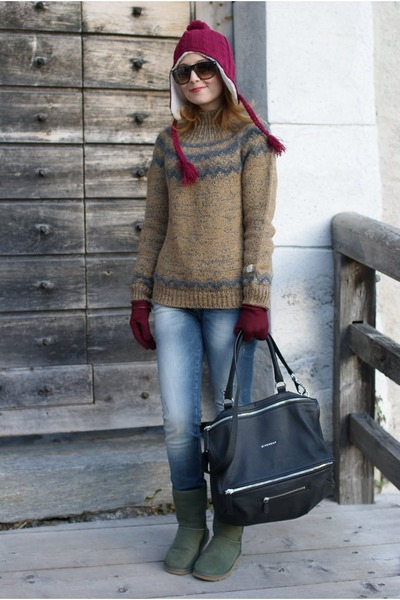 Ugg boots - subdued hat - Aniye By sweater - pandora bag Givenchy bag