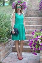 green lace Morgan de Toi dress - black fringed Carla G bag