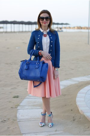 blue Only blazer - blue Sodini bag - light orange asos skirt