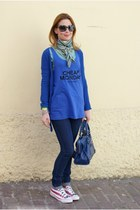 navy denim cheap jeans - blue silk scarf Hermes scarf - blue city balenciaga bag