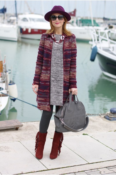 navy navajo style Jeans west cardigan - brick red Gaia deste boots