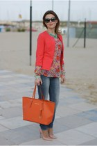 carrot orange floral print Zara shirt - orange tangerine tote Michael Kors bag