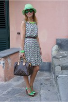 green chevron print Darling dress - maroon speedy 30 Louis Vuitton bag
