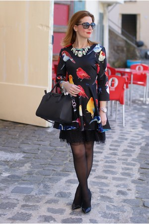 black birds print Sheinside dress - black Givenchy bag