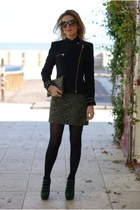 black velvet Zara jacket - black studded clutch Zara bag - green camo Zara skirt