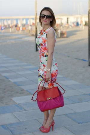 white floral print H&M dress - red Marc by Marc Jacobs bag