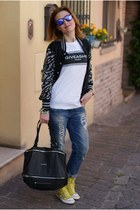 dark gray varsity Urban Trends jacket - sky blue boyfriend Zara jeans