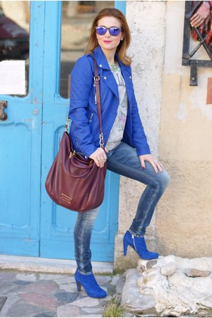 blue see by chloé boots - blue biker MORGAN jacket