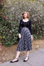 Silver-plaid-vintage-skirt-ankle-strap-zara-flats-black-uniqlo-top