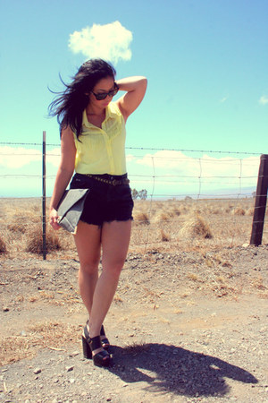 Levis shorts - Local Boutique bag - Oakleys sunglasses - asos heels