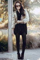 black Dazzling top - black cotton on scarf - Lulu and Rose jacket - purple Londo