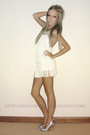White-bershka-dress-silver-wildfire-shoes
