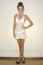 white Valley Girl dress - white Rusty swimwear - brown shoes
