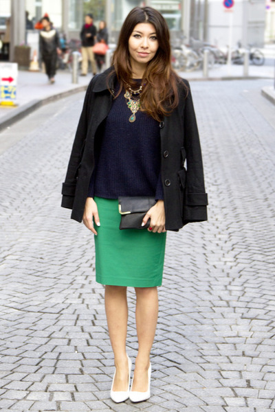 Zara skirt - white asos shoes - black H&amp;M jacket - navy Mango sweater