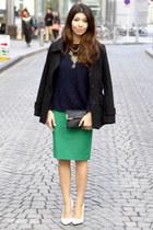 Zara skirt - white asos shoes - black H&M jacket - navy Mango sweater
