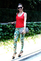 red tank top Bershka top - leopard H&M bag - black Zara sandals