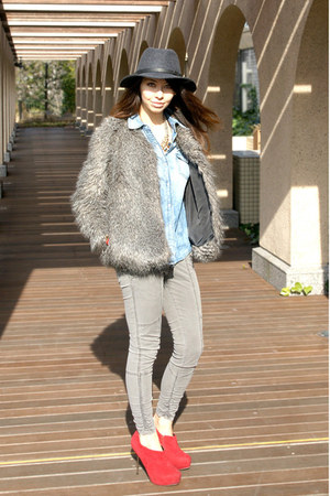 gray Gap hat - red asos shoes - heather gray faux fur Mango coat