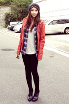 red pleather Bershka jacket - booties H&M boots - wool beanie Gap hat