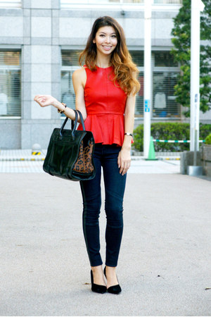 red peplum leather bardot top - navy biker Zara jeans
