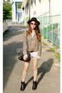 Black-h-m-hat-white-bershka-shorts-dark-brown-leopard-print-h-m-blouse