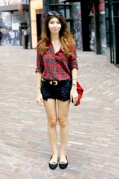 red suede Zara bag - ruby red Forever 21 shirt - navy Zara shorts