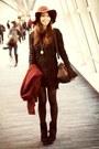 Black-guess-boots-black-forever-21-dress-dark-brown-floppy-hat-h-m-hat