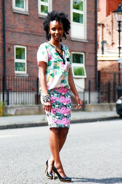 floral blouse H&M blouse - Internacionale skirt - studded heels F&F heels