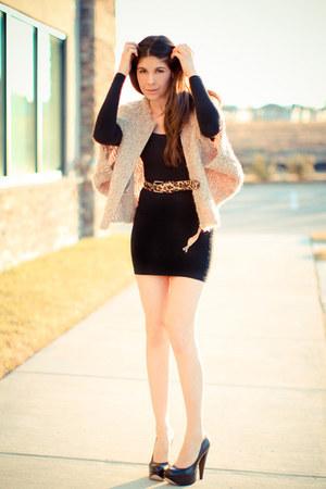 black American Apparel dress - beige wool shrug Grammy Label sweater - black Ald