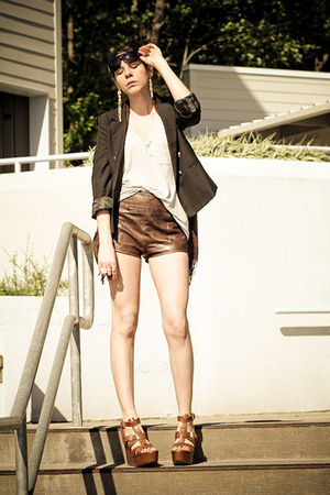 black H&amp;M blazer - brown abercrombie and fitch shorts - brown ASH shoes - gray A