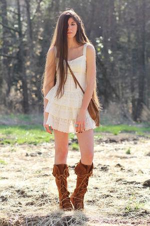 white eyelet Forever 21 dress - brown knee-hi boots Minnetonka shoes