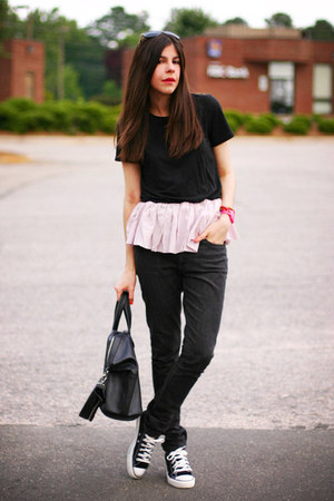 skinny superfine jeans - Givenchy bag - Converse sneakers - we are rubbish top