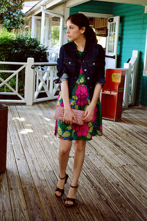 blue Gap jacket - brown franco sarto shoes - pink vintage dress - pink XOXO bag