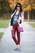 pink blazer - mac mini Rebecca Minkoff bag - leather romwe pants