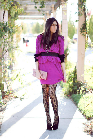 black christian dior sweater - black wedges Aldo shoes - hot pink aryn k dress