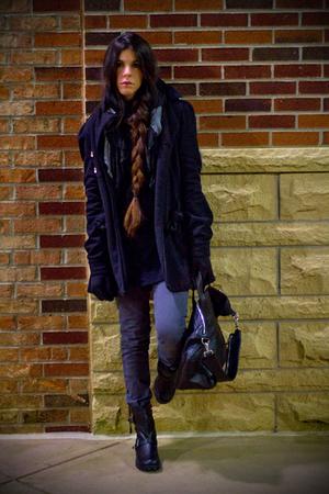 black Juicy Couture coat - black Barneys New York dress - black American Chic pu