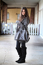 black suede Chinese Laundry boots - heather gray Tulle coat - black danskin legg