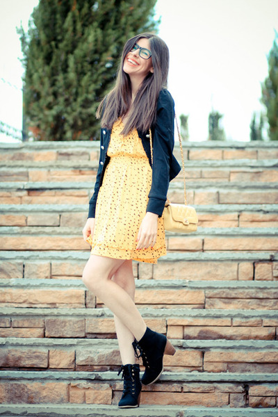modcloth boots - modcloth dress - modcloth jacket - Chanel bag