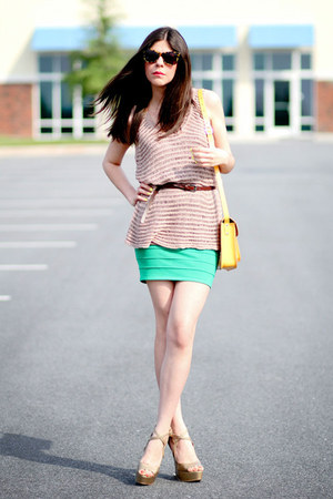 Leather Satchel Co bag - Karen Walker sunglasses - modcloth skirt - Moschino wed