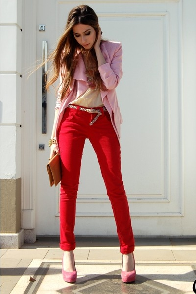 red Marisa pants - pink romwe blazer - bubble gum Ellus pumps