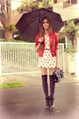 White-espao-1098-dress-red-romwe-jacket-gold-cute-pie-ring