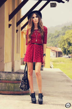 black Timeless bag - brick red Sheinside dress - black Kaf bracelet