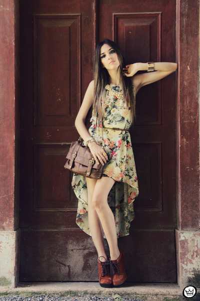 dark khaki floral mullet Antix dress - tawny asos heels