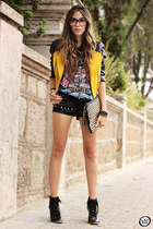 Kafé bracelet - Choies jacket - romwe bag - romwe shorts