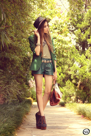 green She Inside blazer - dark green leather WAGW shorts