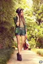 green She Inside blazer - dark green leather WAGW shorts