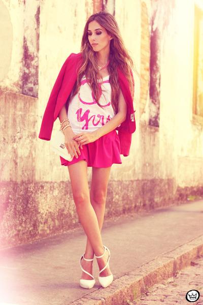 white aluska t-shirt - hot pink romwe skirt - white asos heels